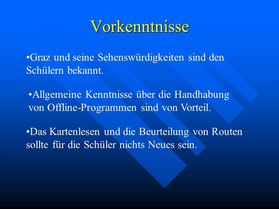 Vorkenntnisse Graz und seine Sehenswürdigkeiten sind den Schülern bekannt. Allgemeine Kenntnisse über die Handhabung von Offline-Programmen sind von V