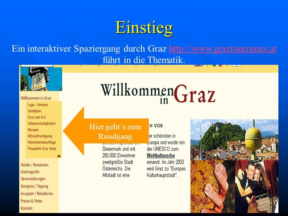 Einstieg Hier geht´s zum Rundgang Ein interaktiver Spaziergang durch Graz http://www.graztourismus.at führt in die Thematik.http://www.graztourismus.at