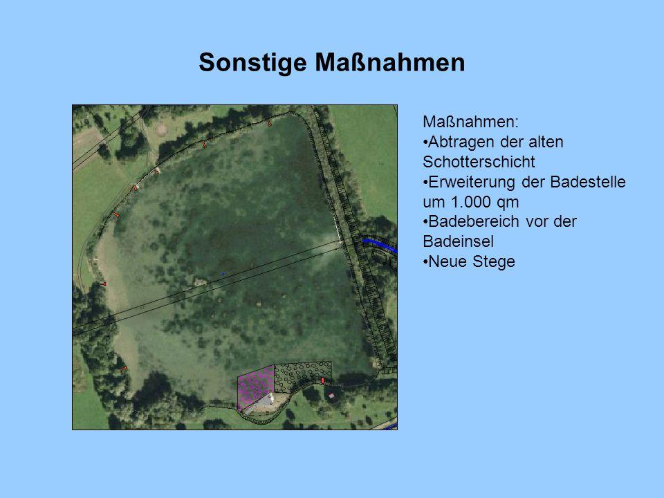Sonstige Maßnahmen Maßnahmen: Abtragen der alten Schotterschicht Erweiterung der Badestelle um 1.000 qm Badebereich vor der Badeinsel Neue Stege