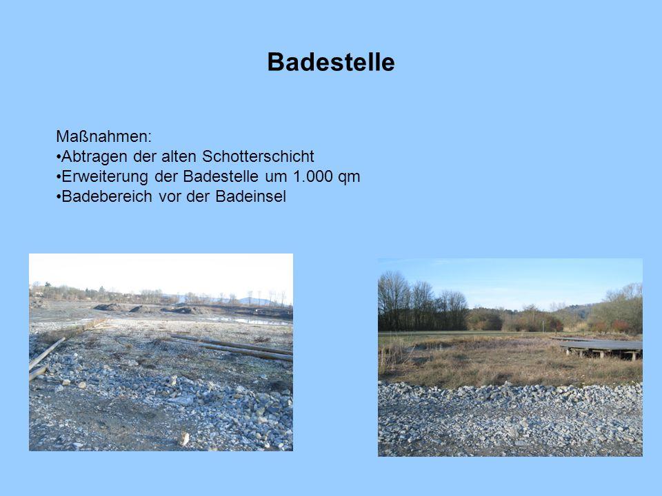 Badestelle Maßnahmen: Abtragen der alten Schotterschicht Erweiterung der Badestelle um 1.000 qm Badebereich vor der Badeinsel