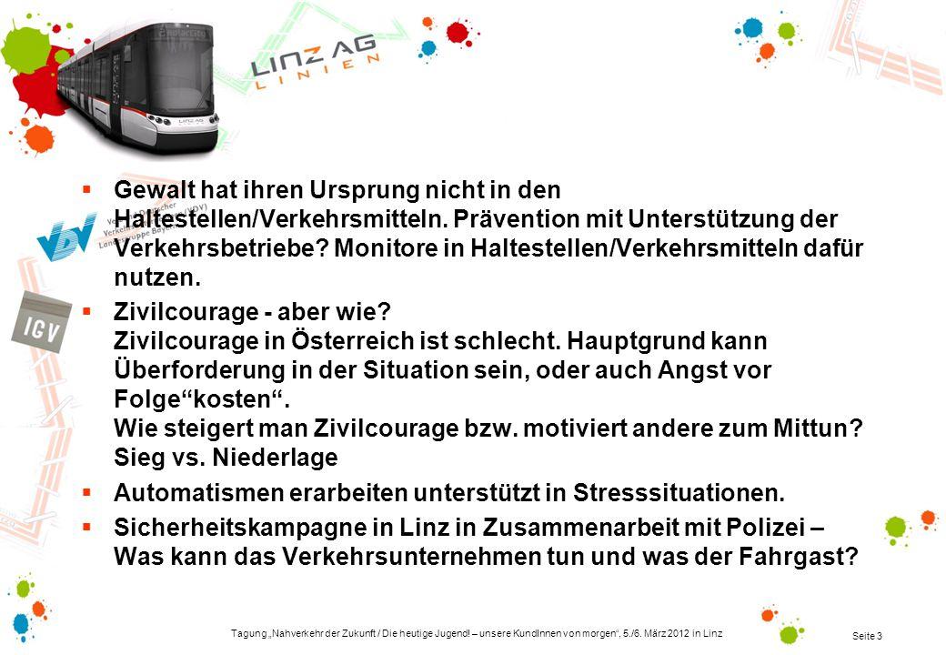 Tagung Nahverkehr der Zukunft / Die heutige Jugend! – unsere KundInnen von morgen, 5./6. März 2012 in Linz Seite 3 Gewalt hat ihren Ursprung nicht in