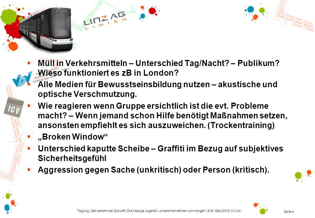 Tagung Nahverkehr der Zukunft / Die heutige Jugend! – unsere KundInnen von morgen, 5./6. März 2012 in Linz Seite 4 Müll in Verkehrsmitteln – Unterschi