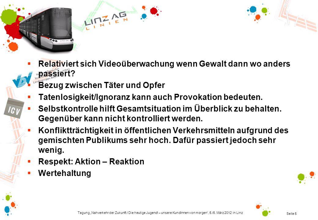 Tagung Nahverkehr der Zukunft / Die heutige Jugend! – unsere KundInnen von morgen, 5./6. März 2012 in Linz Seite 5 Relativiert sich Videoüberwachung w