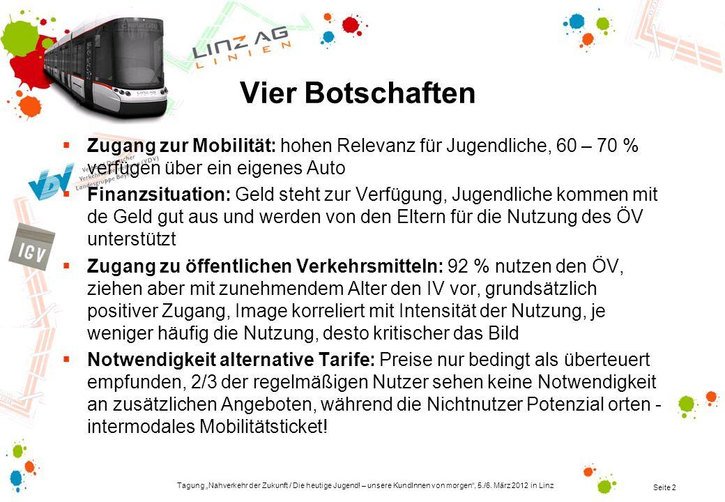 Tagung Nahverkehr der Zukunft / Die heutige Jugend! – unsere KundInnen von morgen, 5./6. März 2012 in Linz Seite 2 Vier Botschaften Zugang zur Mobilit