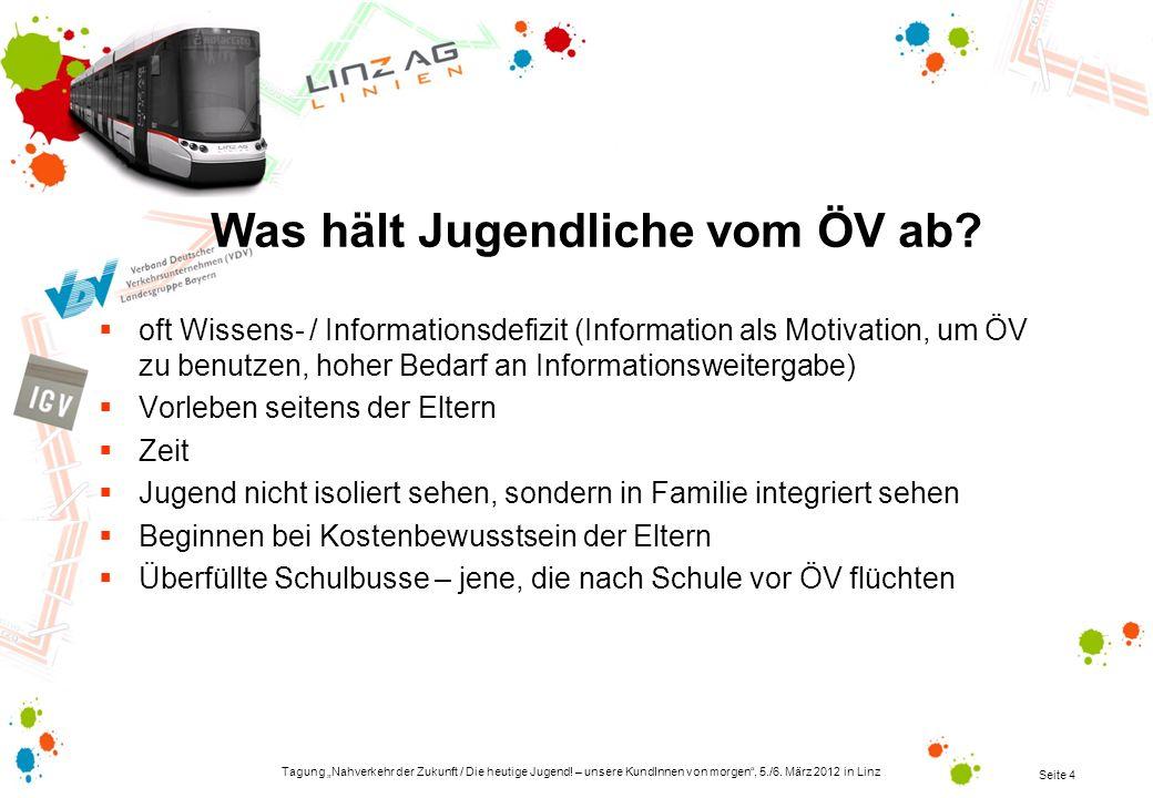 Tagung Nahverkehr der Zukunft / Die heutige Jugend! – unsere KundInnen von morgen, 5./6. März 2012 in Linz Seite 4 Was hält Jugendliche vom ÖV ab? oft