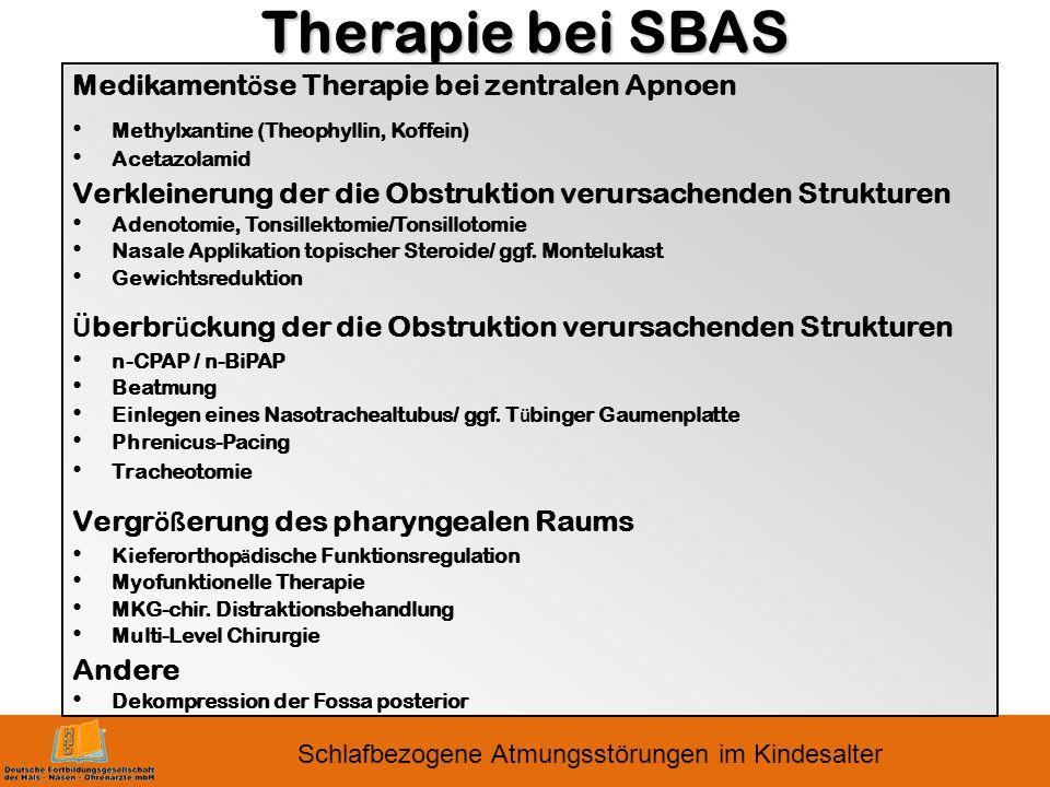Schlafbezogene Atmungsstörungen im Kindesalter Therapie bei SBAS Medikament ö se Therapie bei zentralen Apnoen Methylxantine (Theophyllin, Koffein) Acetazolamid Verkleinerung der die Obstruktion verursachenden Strukturen Adenotomie, Tonsillektomie/Tonsillotomie Nasale Applikation topischer Steroide/ ggf.