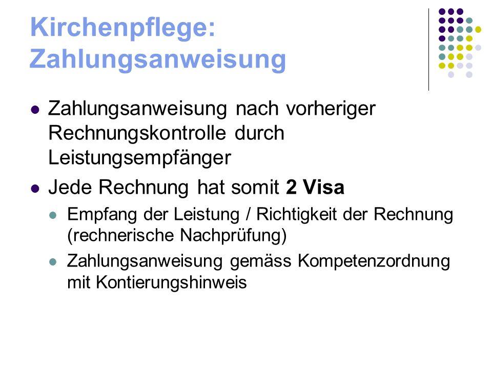 Kirchenpflege: Zahlungsanweisung Zahlungsanweisung nach vorheriger Rechnungskontrolle durch Leistungsempfänger Jede Rechnung hat somit 2 Visa Empfang