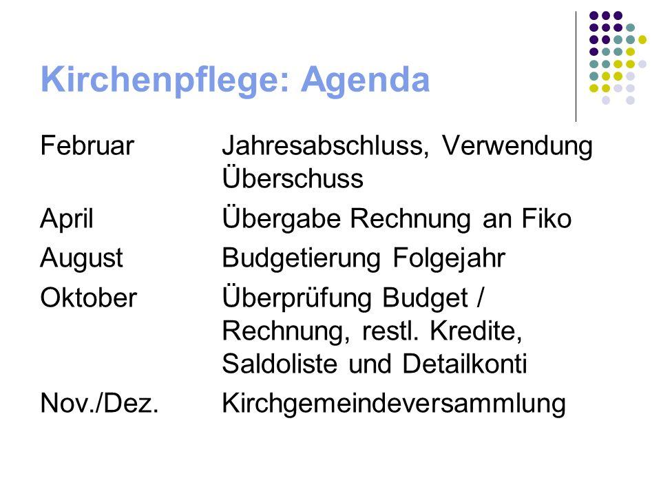 Kirchenpflege: Agenda FebruarJahresabschluss, Verwendung Überschuss AprilÜbergabe Rechnung an Fiko AugustBudgetierung Folgejahr OktoberÜberprüfung Budget / Rechnung, restl.