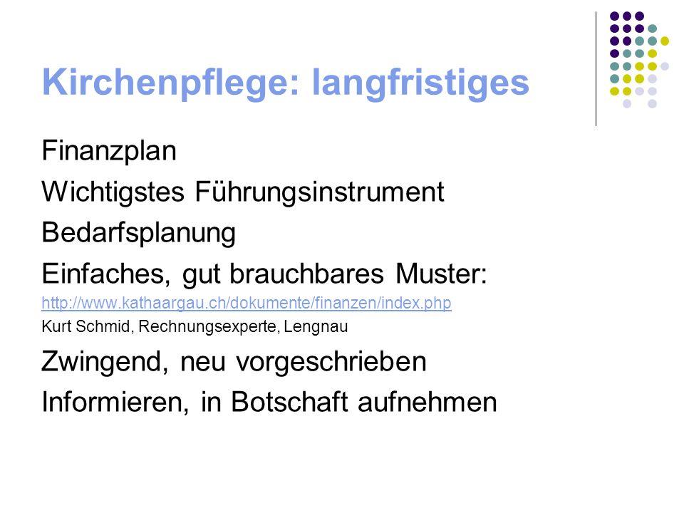Kirchenpflege: langfristiges Finanzplan Wichtigstes Führungsinstrument Bedarfsplanung Einfaches, gut brauchbares Muster: http://www.kathaargau.ch/doku