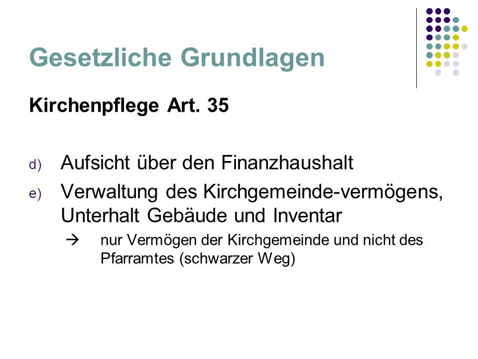 Gesetzliche Grundlagen Kirchenpflege Art.