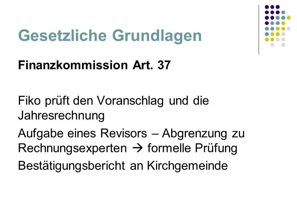 Gesetzliche Grundlagen Finanzkommission Art. 37 Fiko prüft den Voranschlag und die Jahresrechnung Aufgabe eines Revisors – Abgrenzung zu Rechnungsexpe