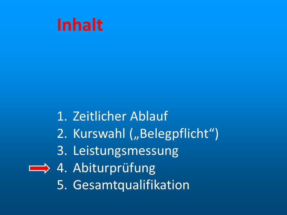 Abiturprüfung (1) Prüfung in fünf Fächern 4 schriftlich 1 mündlich alle drei Aufgabenfelder müssen abgedeckt sein
