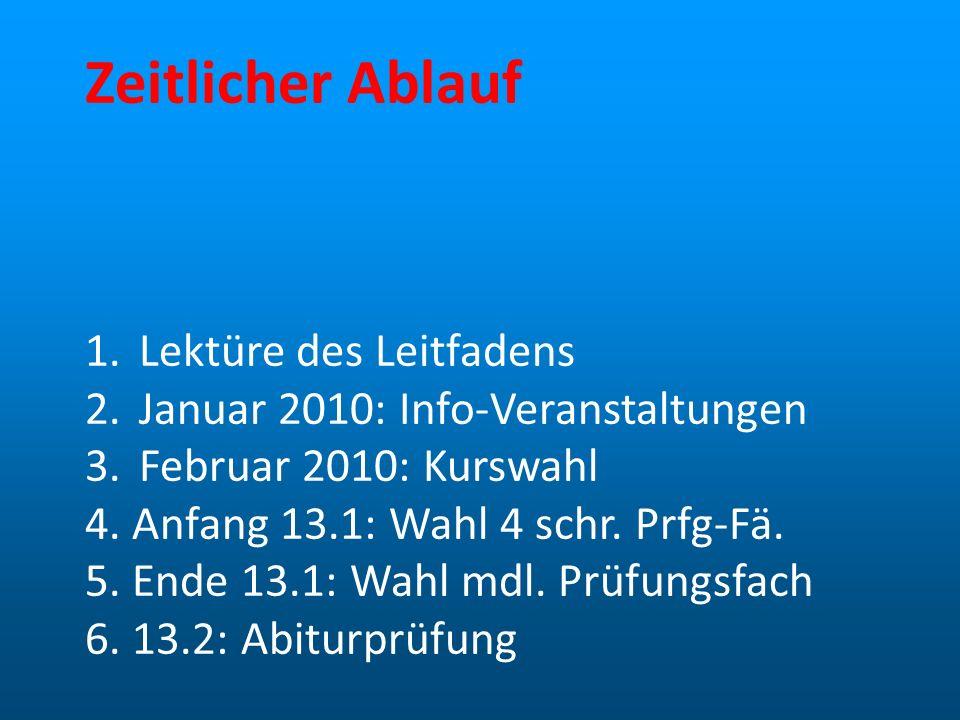 Zeitlicher Ablauf 1.Lektüre des Leitfadens 2.Januar 2010: Info-Veranstaltungen 3.Februar 2010: Kurswahl 4. Anfang 13.1: Wahl 4 schr. Prfg-Fä. 5. Ende