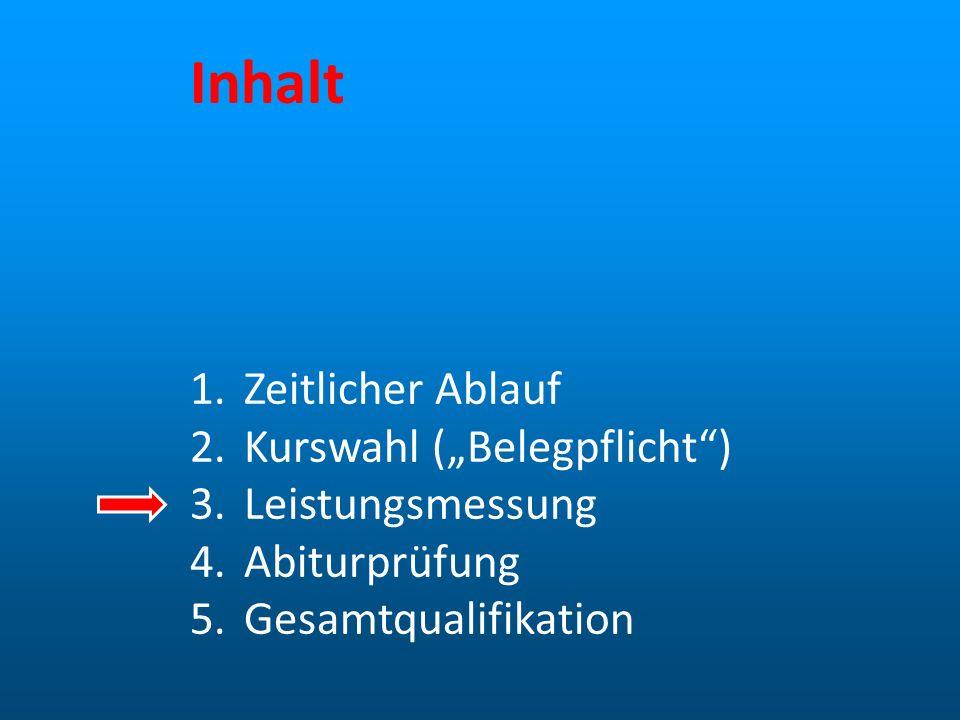 Inhalt 1.Zeitlicher Ablauf 2.Kurswahl (Belegpflicht) 3.Leistungsmessung 4.Abiturprüfung 5.Gesamtqualifikation