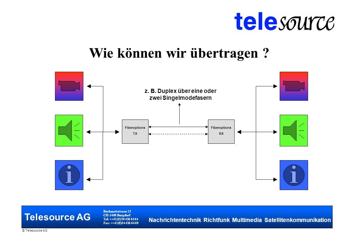 Telesource AG Buchmattstrasse 13 CH-3400 Burgdorf Tel: ++41(0) 34 426 64 64 Fax: ++41(0)34 426 64 69 Nachrichtentechnik Richtfunk Multimedia Satellitenkommunikation © Telesource AG Wie können wir übertragen .