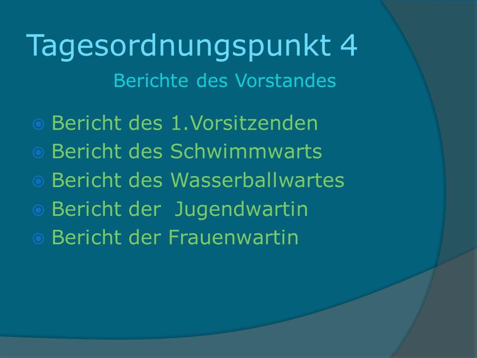 Tagesordnungspunkt 4 Berichte des Vorstandes Bericht des 1.Vorsitzenden Bericht des Schwimmwarts Bericht des Wasserballwartes Bericht der Jugendwartin Bericht der Frauenwartin