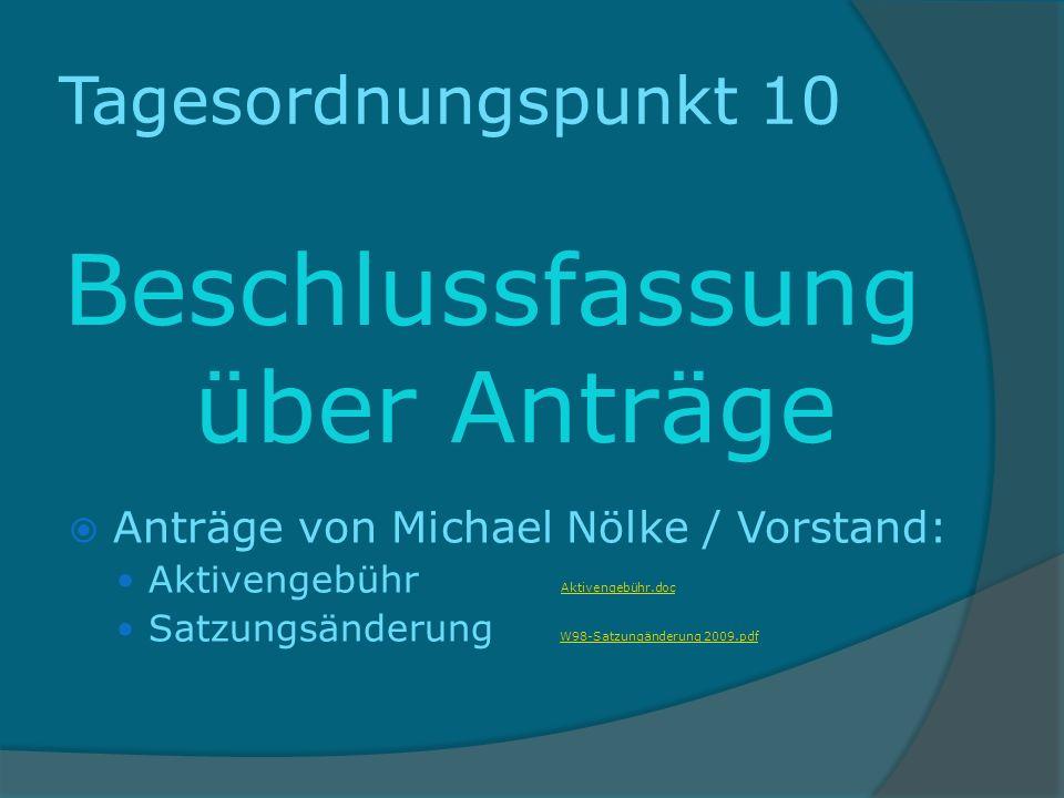 Tagesordnungspunkt 10 Beschlussfassung über Anträge Anträge von Michael Nölke / Vorstand: Aktivengebühr Aktivengebühr.doc Aktivengebühr.doc Satzungsän