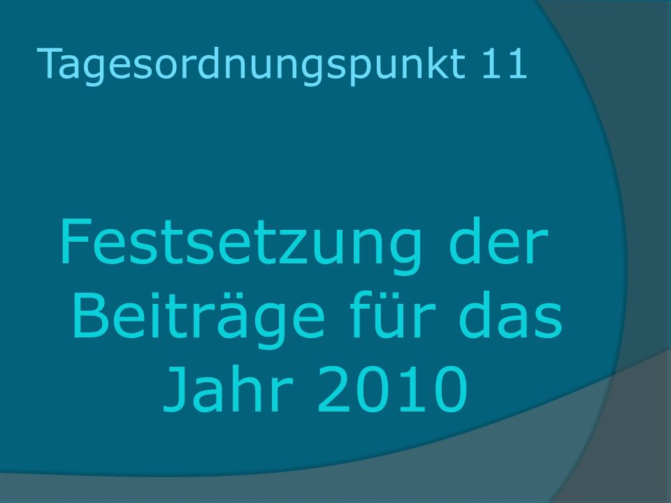 Tagesordnungspunkt 11 Festsetzung der Beiträge für das Jahr 2010