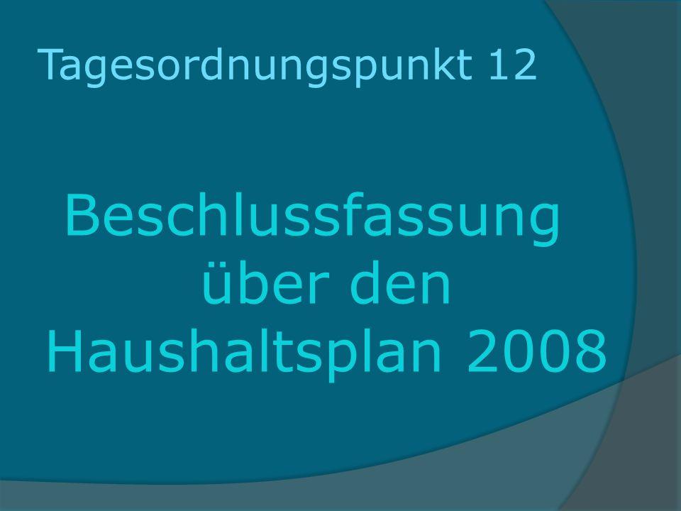 Tagesordnungspunkt 12 Beschlussfassung über den Haushaltsplan 2008