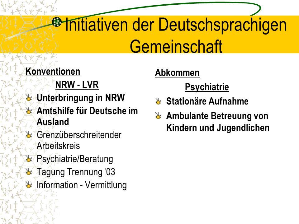 Initiativen der Deutschsprachigen Gemeinschaft Konventionen NRW - LVR Unterbringung in NRW Amtshilfe für Deutsche im Ausland Grenzüberschreitender Arb
