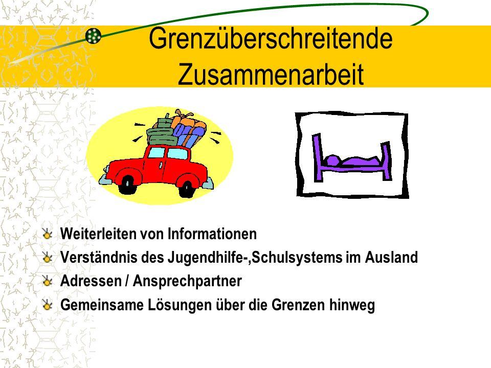 Grenzüberschreitende Zusammenarbeit Weiterleiten von Informationen Verständnis des Jugendhilfe-,Schulsystems im Ausland Adressen / Ansprechpartner Gem