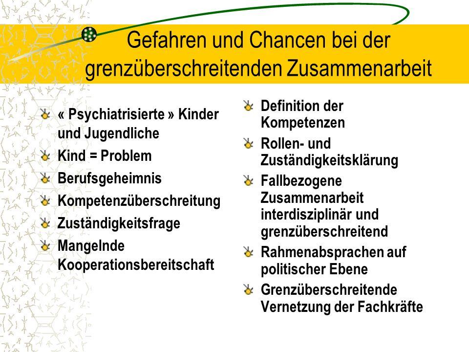 Gefahren und Chancen bei der grenzüberschreitenden Zusammenarbeit « Psychiatrisierte » Kinder und Jugendliche Kind = Problem Berufsgeheimnis Kompetenz