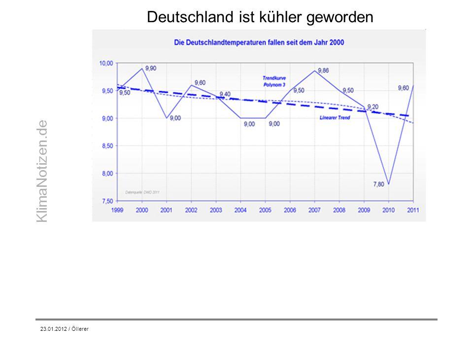 KlimaNotizen.de Deutschland ist kühler geworden 23.01.2012 / Öllerer