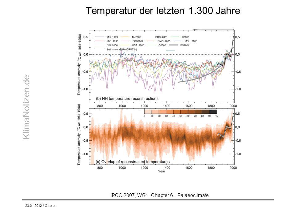 KlimaNotizen.de Temperatur der letzten 1.300 Jahre 23.01.2012 / Öllerer IPCC 2007, WG1, Chapter 6 - Palaeoclimate