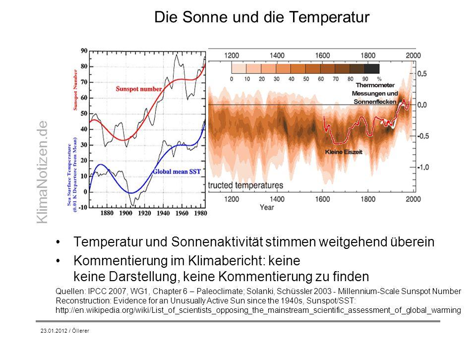 KlimaNotizen.de Die Sonne und die Temperatur 23.01.2012 / Öllerer Temperatur und Sonnenaktivität stimmen weitgehend überein Kommentierung im Klimaberi
