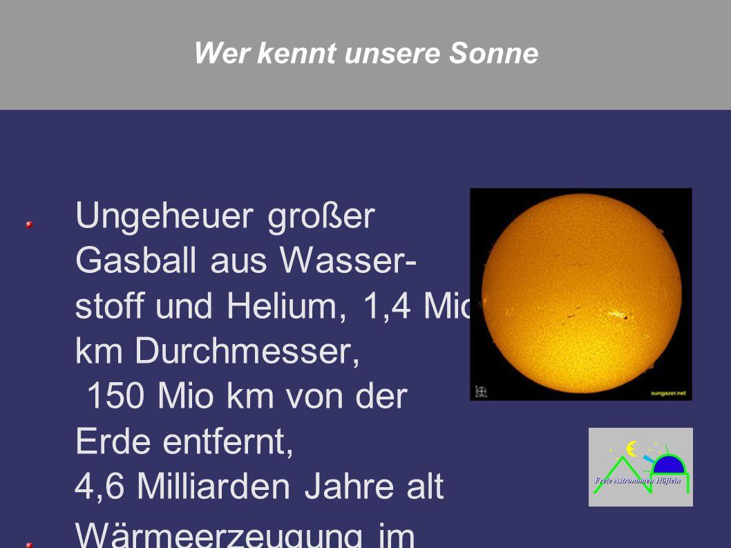 Wer kennt unsere Sonne Ungeheuer großer Gasball aus Wasser- stoff und Helium, 1,4 Mio km Durchmesser, 150 Mio km von der Erde entfernt, 4,6 Milliarden