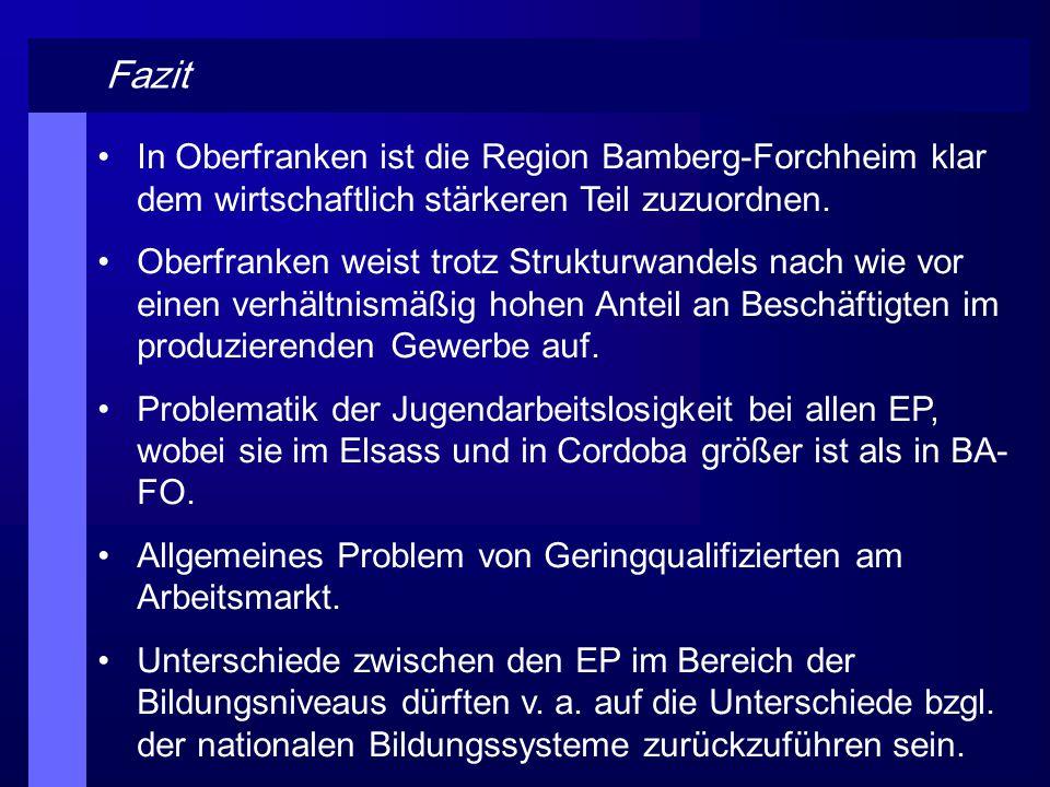 Fazit In Oberfranken ist die Region Bamberg-Forchheim klar dem wirtschaftlich stärkeren Teil zuzuordnen. Oberfranken weist trotz Strukturwandels nach