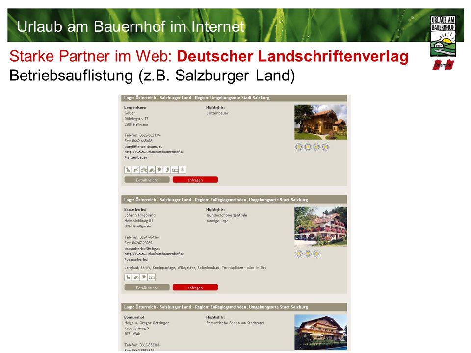 Starke Partner im Web: Deutscher Landschriftenverlag Betriebsauflistung (z.B. Salzburger Land) Urlaub am Bauernhof im Internet