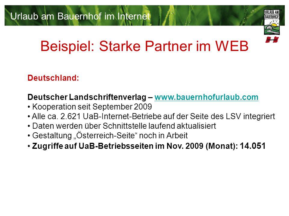 Beispiel: Starke Partner im WEB Deutschland: Deutscher Landschriftenverlag – www.bauernhofurlaub.comwww.bauernhofurlaub.com Kooperation seit September 2009 Alle ca.