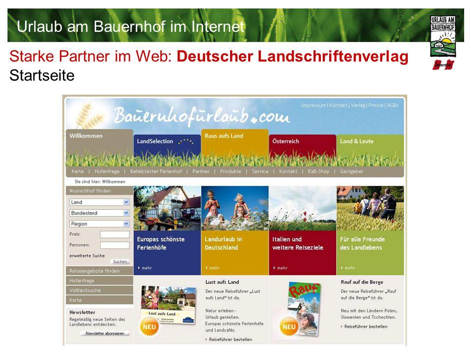 Starke Partner im Web: Deutscher Landschriftenverlag Startseite Urlaub am Bauernhof im Internet