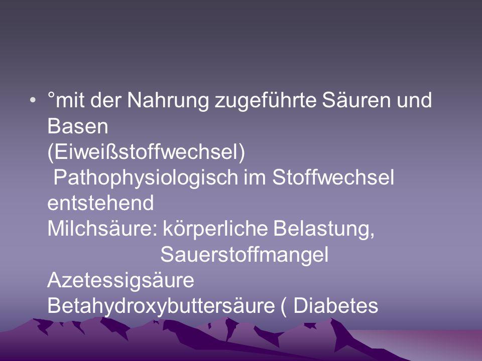 °mit der Nahrung zugeführte Säuren und Basen (Eiweißstoffwechsel) Pathophysiologisch im Stoffwechsel entstehend Milchsäure: körperliche Belastung, Sau