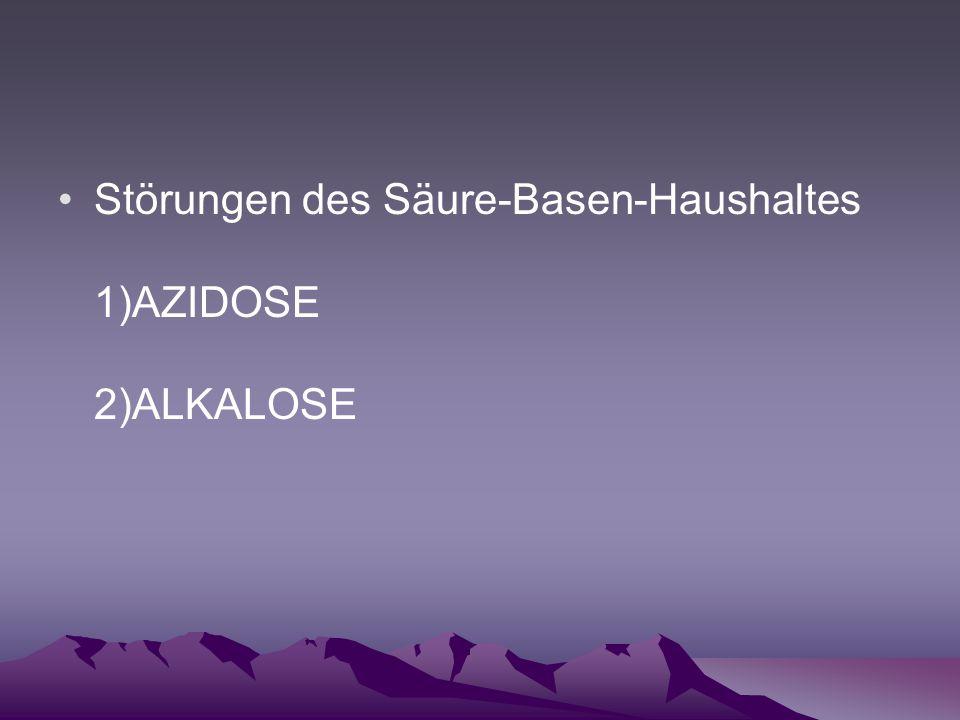 Störungen des Säure-Basen-Haushaltes 1)AZIDOSE 2)ALKALOSE
