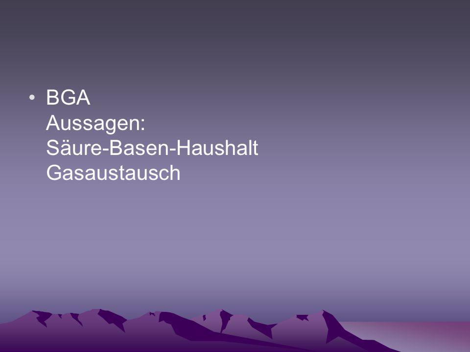 BGA Aussagen: Säure-Basen-Haushalt Gasaustausch