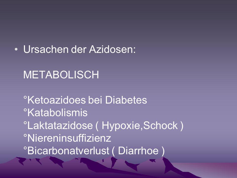 Ursachen der Azidosen: METABOLISCH °Ketoazidoes bei Diabetes °Katabolismis °Laktatazidose ( Hypoxie,Schock ) °Niereninsuffizienz °Bicarbonatverlust (