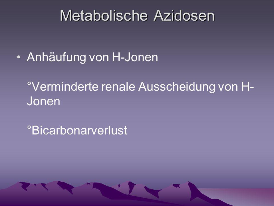 Metabolische Azidosen Anhäufung von H-Jonen °Verminderte renale Ausscheidung von H- Jonen °Bicarbonarverlust