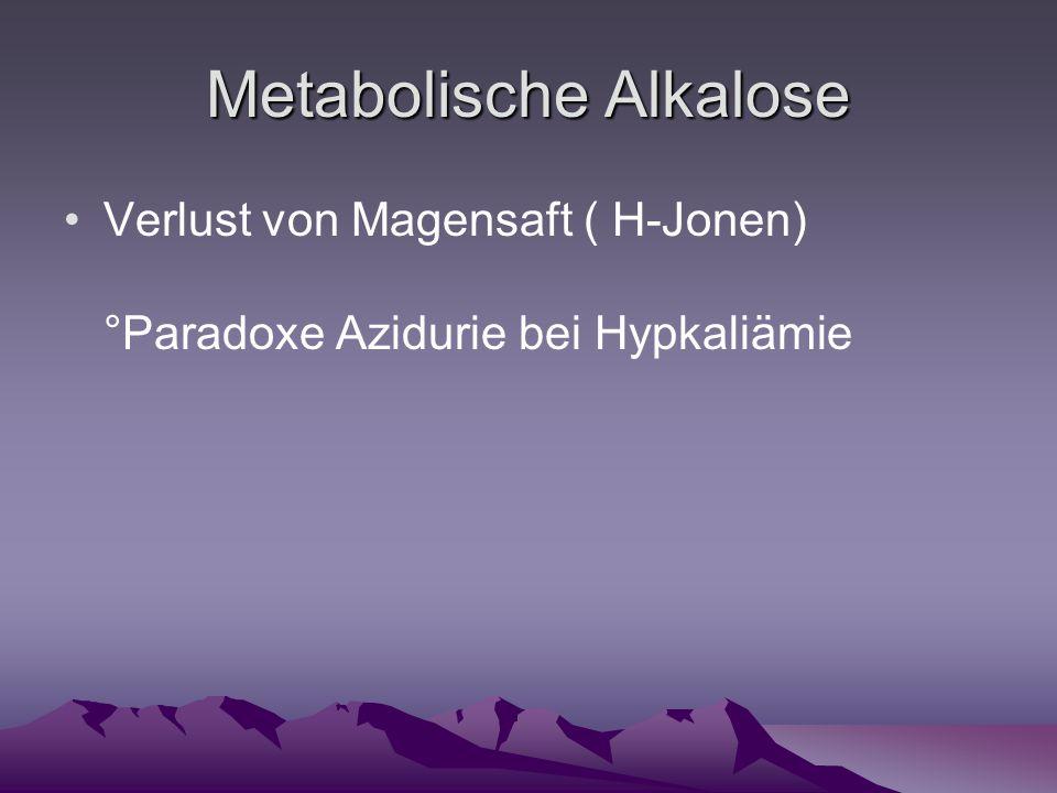 Metabolische Alkalose Verlust von Magensaft ( H-Jonen) °Paradoxe Azidurie bei Hypkaliämie