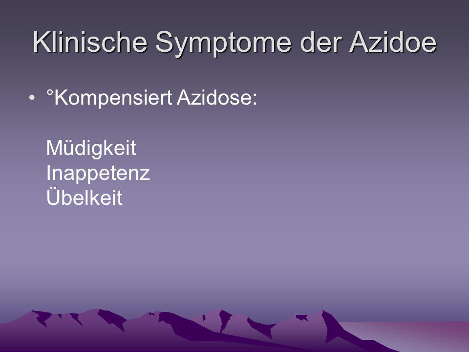 Klinische Symptome der Azidoe °Kompensiert Azidose: Müdigkeit Inappetenz Übelkeit