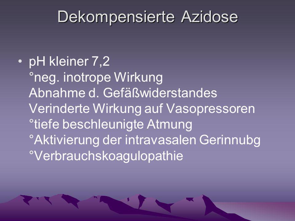 Dekompensierte Azidose pH kleiner 7,2 °neg. inotrope Wirkung Abnahme d. Gefäßwiderstandes Verinderte Wirkung auf Vasopressoren °tiefe beschleunigte At