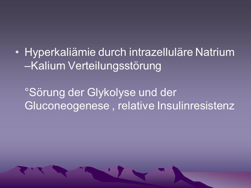 Hyperkaliämie durch intrazelluläre Natrium –Kalium Verteilungsstörung °Sörung der Glykolyse und der Gluconeogenese, relative Insulinresistenz