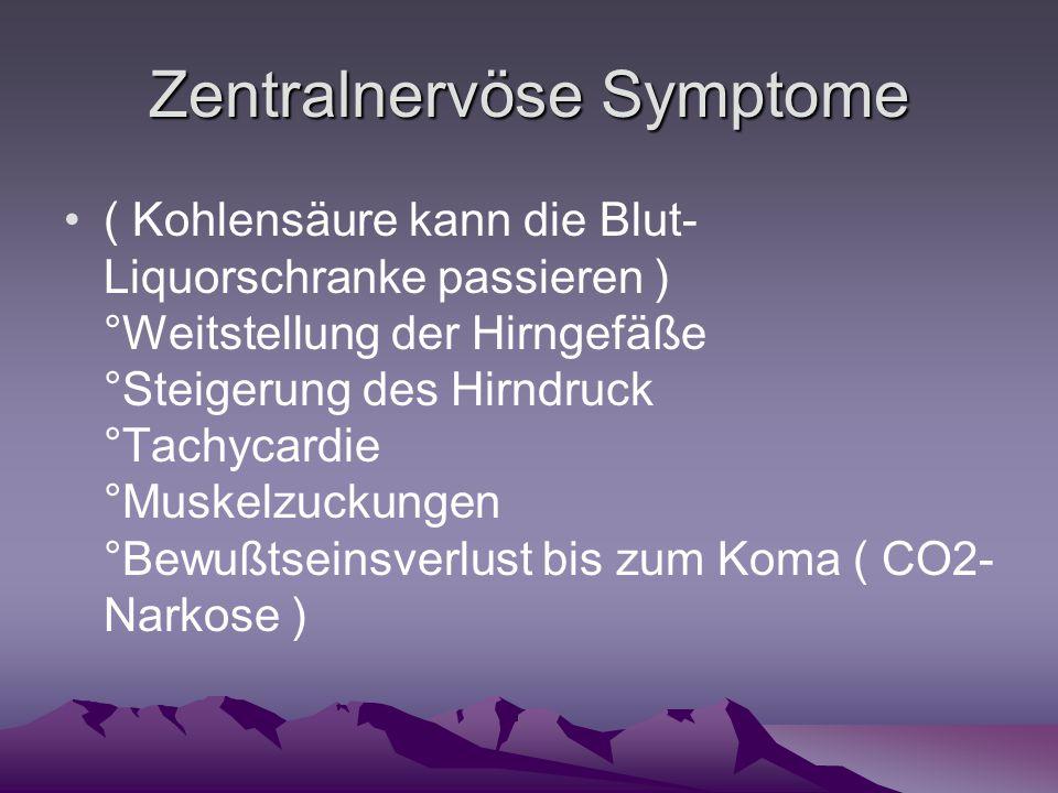 Zentralnervöse Symptome ( Kohlensäure kann die Blut- Liquorschranke passieren ) °Weitstellung der Hirngefäße °Steigerung des Hirndruck °Tachycardie °M