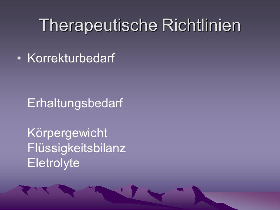 Therapeutische Richtlinien Korrekturbedarf Erhaltungsbedarf Körpergewicht Flüssigkeitsbilanz Eletrolyte