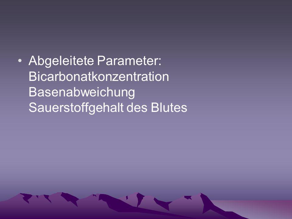 Abgeleitete Parameter: Bicarbonatkonzentration Basenabweichung Sauerstoffgehalt des Blutes