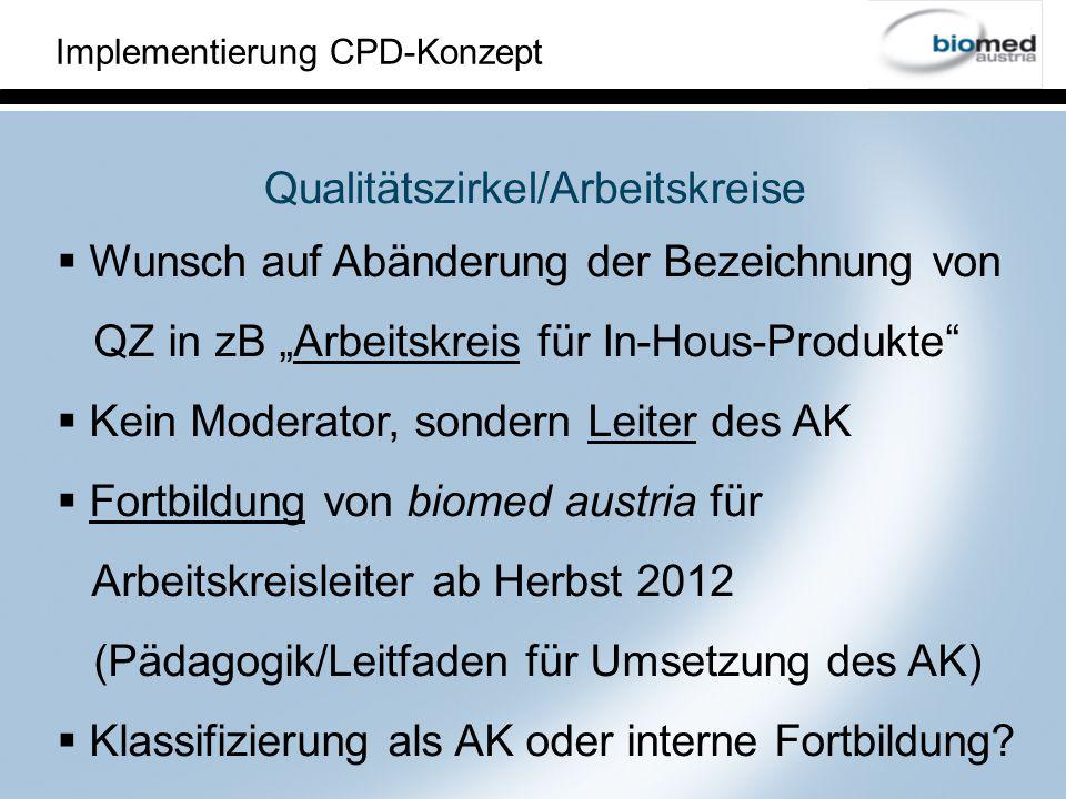 Implementierung CPD-Konzept Mindeststandards eines Arbeitskreise Leitung: Ausbildung von biomed austria (Führungskräfte absolvieren nur Teile davon) TeilnehmerInnen: mind.