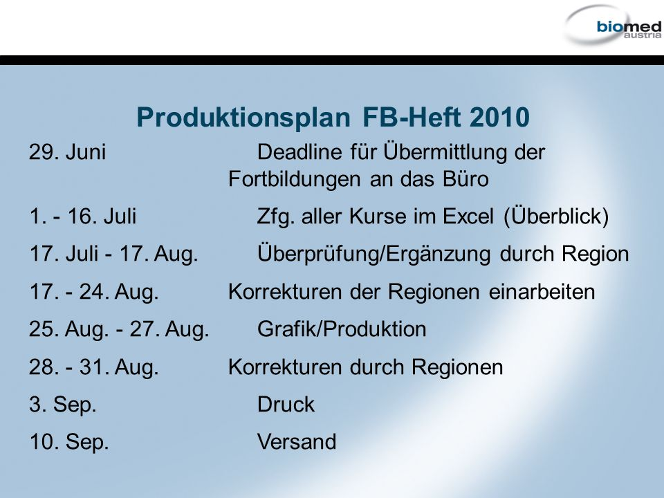 Produktionsplan FB-Heft 2010 29. Juni Deadline für Übermittlung der Fortbildungen an das Büro 1.
