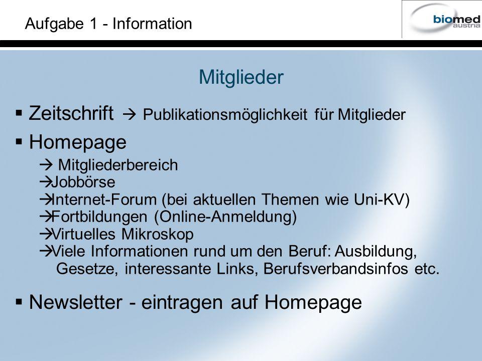Aufgabe 1 - Information Homepage Mitgliederbereich Jobbörse Internet-Forum (bei aktuellen Themen wie Uni-KV) Fortbildungen (Online-Anmeldung) Virtuelles Mikroskop Viele Informationen rund um den Beruf: Ausbildung, Gesetze, interessante Links, Berufsverbandsinfos etc.