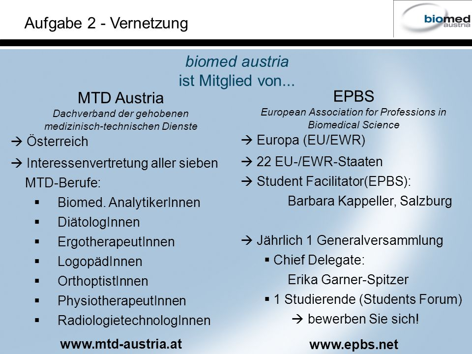 Aufgabe 2 - Vernetzung biomed austria ist Mitglied von... MTD Austria Dachverband der gehobenen medizinisch-technischen Dienste Österreich Interessenv